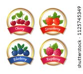 berry jam and marmalade labels. ... | Shutterstock .eps vector #1125745349
