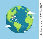 plane and globe. aircraft... | Shutterstock .eps vector #1125745379