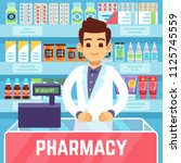 happy young man pharmacist... | Shutterstock .eps vector #1125745559
