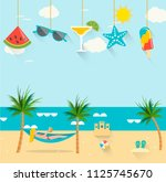 summer background with girl... | Shutterstock .eps vector #1125745670