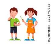 cheerful girl kid give...   Shutterstock .eps vector #1125747188