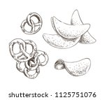 pretzels and chips food set... | Shutterstock .eps vector #1125751076