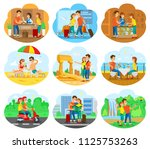 tourist couple on journey... | Shutterstock .eps vector #1125753263