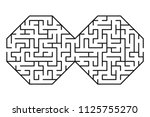 abstract maze   labyrinth with... | Shutterstock .eps vector #1125755270