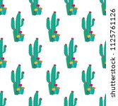 cactus plant seamless pattern... | Shutterstock . vector #1125761126