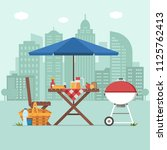 summer picnic table on city... | Shutterstock .eps vector #1125762413