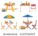 picnic table with food icons....   Shutterstock .eps vector #1125762419