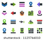colored vector icon set   plane ...