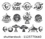 badges set with ufo and aliens. ... | Shutterstock .eps vector #1125770660