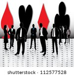 business people with signs of... | Shutterstock .eps vector #112577528