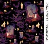 seamless halloween pattern with ... | Shutterstock .eps vector #1125777980