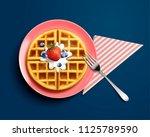 delicious belgian waffle design ... | Shutterstock . vector #1125789590