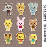 cartoon animal waiter stickers | Shutterstock .eps vector #112579190