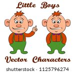 little baby boy with red hair ... | Shutterstock .eps vector #1125796274