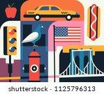citiy skyline set. flat...   Shutterstock .eps vector #1125796313