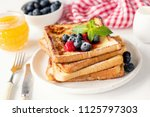 french toast with fresh... | Shutterstock . vector #1125797303