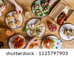 flat lay bar meals with... | Shutterstock . vector #1125797903