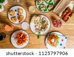 flat lay bar meals with... | Shutterstock . vector #1125797906