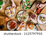 flat lay bar meals with... | Shutterstock . vector #1125797933