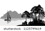 landscape with sailboat on a... | Shutterstock .eps vector #1125799619