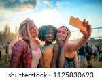 multiethnic girls covered in... | Shutterstock . vector #1125830693