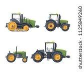flat green tractors set | Shutterstock .eps vector #1125849260