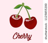 cherry. isolated berries on... | Shutterstock .eps vector #1125855200