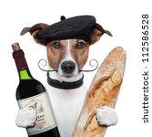 French Dog Wine Baguette Beret