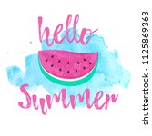 hello summer greeting card with ... | Shutterstock .eps vector #1125869363