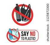 say no to plastic sign with... | Shutterstock .eps vector #1125872300