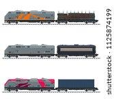 locomotive with blue cargo...   Shutterstock .eps vector #1125874199