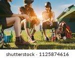 asian friends group travel... | Shutterstock . vector #1125874616