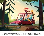 young happy people going by a... | Shutterstock .eps vector #1125881636