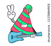 with guitar party hat mascot... | Shutterstock .eps vector #1125884903