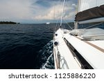 luxury yacht at sea race.... | Shutterstock . vector #1125886220