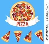 pizzeria logotype. pizza cut... | Shutterstock .eps vector #1125887174