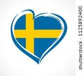 love sweden emblem with heart...   Shutterstock .eps vector #1125892400