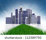 Abstract green city - stock photo