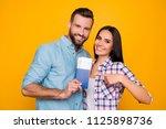 portrait of joyful glad couple... | Shutterstock . vector #1125898736