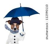 rain umbrella winter dog | Shutterstock . vector #112590110