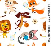 seamleaa pattern with playing... | Shutterstock .eps vector #1125906659
