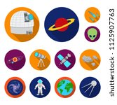 space technology flat icons in... | Shutterstock .eps vector #1125907763