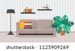 cozy living room   flat style... | Shutterstock .eps vector #1125909269