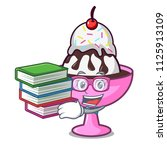 student with book ice cream... | Shutterstock .eps vector #1125913109