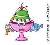 fishing ice cream sundae mascot ... | Shutterstock .eps vector #1125913226
