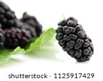 ripe mulberries fruit and green ... | Shutterstock . vector #1125917429