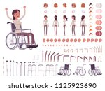 female wheelchair user... | Shutterstock .eps vector #1125923690