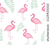 cute seamless flamingo pattern  ... | Shutterstock . vector #1125925310