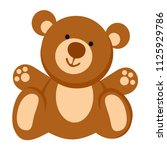 soft toy. teddy bear line icon. ... | Shutterstock .eps vector #1125929786