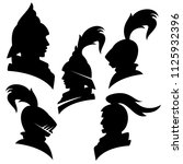 knights wearing helmets   black ... | Shutterstock .eps vector #1125932396